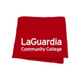 Red Sweatshirt Blanket-LaGuardia Wordmark