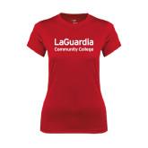 Ladies Syntrel Performance Red Tee-LaGuardia Wordmark