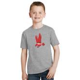 Youth Grey T-Shirt-Red Hawk