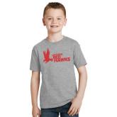 Youth Grey T-Shirt-LaGuardia Red Hawks