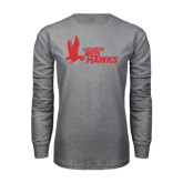 Grey Long Sleeve T Shirt-LaGuardia Red Hawks