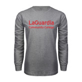 Grey Long Sleeve T Shirt-LaGuardia Wordmark