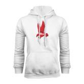 White Fleece Hoodie-Red Hawk