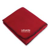 Red Arctic Fleece Blanket-LaGuardia Wordmark