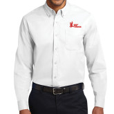 White Twill Button Down Long Sleeve-LaGuardia Red Hawks