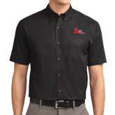 Black Twill Button Down Short Sleeve-LaGuardia Red Hawks