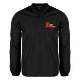 V Neck Black Raglan Windshirt-LaGuardia Red Hawks