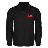 Full Zip Black Wind Jacket-LaGuardia Red Hawks