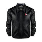 Black Leather Bomber Jacket-LaGuardia Red Hawks