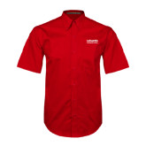 Red Twill Button Down Short Sleeve-LaGuardia Wordmark