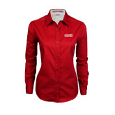 Ladies Red Twill Button Down Long Sleeve-LaGuardia Wordmark