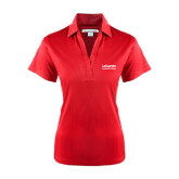 Ladies Red Performance Fine Jacquard Polo-LaGuardia Wordmark