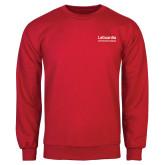 Red Fleece Crew-LaGuardia Wordmark