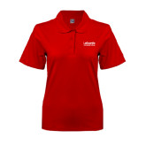 Ladies Easycare Red Pique Polo-LaGuardia Wordmark