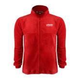 Fleece Full Zip Red Jacket-LaGuardia Wordmark