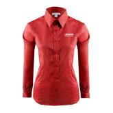 Ladies Red House Red Long Sleeve Shirt-LaGuardia Wordmark