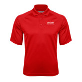 Red Textured Saddle Shoulder Polo-LaGuardia Wordmark