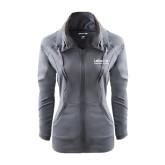 Ladies Sport Wick Stretch Full Zip Charcoal Jacket-LaGuardia Wordmark