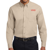 Khaki Twill Button Down Long Sleeve-LaGuardia Wordmark