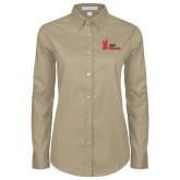 Ladies Khaki Twill Button Down Long Sleeve-LaGuardia Red Hawks