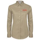 Ladies Khaki Twill Button Down Long Sleeve-LaGuardia Wordmark