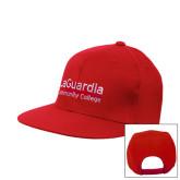 Red Flat Bill Snapback Hat-LaGuardia Wordmark