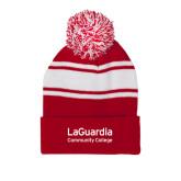 Red/White Two Tone Knit Pom Beanie w/Cuff-LaGuardia Wordmark