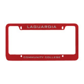 Metal Red License Plate Frame-LaGuardia