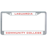 Metal License Plate Frame in Chrome-LaGuardia