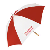 62 Inch Red/White Vented Umbrella-LaGuardia Wordmark