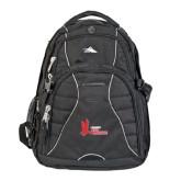 High Sierra Swerve Black Compu Backpack-LaGuardia Red Hawks