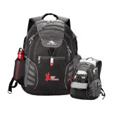 High Sierra Big Wig Black Compu Backpack-LaGuardia Red Hawks