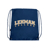 Nylon Navy Drawstring Backpack-Arched Lehman College