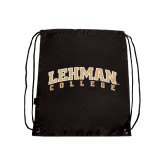 Nylon Black Drawstring Backpack-Arched Lehman College
