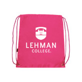College Pink Drawstring Backpack-University Mark