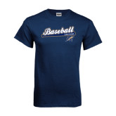Navy T Shirt-Baseball Script