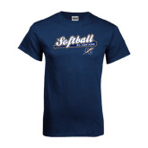 Navy T Shirt-Softball Script