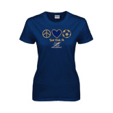 Lahman Ladies Navy T Shirt-Just Kick It