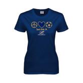 Ladies Navy T Shirt-Just Kick It