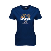 Lahman Ladies Navy T Shirt-Game Set Match