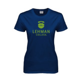 Lahman Ladies Navy T Shirt-University Mark