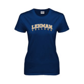 Lahman Ladies Navy T Shirt-Arched Lehman College