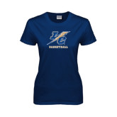 Lahman Ladies Navy T Shirt-Basketball