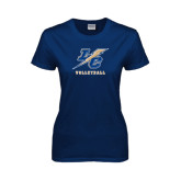 Lahman Ladies Navy T Shirt-Volleyball