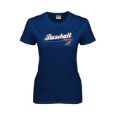Lahman Ladies Navy T Shirt-Baseball Script
