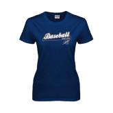 Ladies Navy T Shirt-Baseball Script