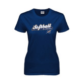 Lahman Ladies Navy T Shirt-Softball Script