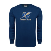 Navy Long Sleeve T Shirt-Outdoor Track And Field