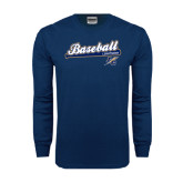 Navy Long Sleeve T Shirt-Baseball Script