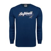 Navy Long Sleeve T Shirt-Softball Script